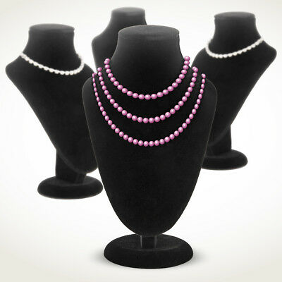 4x Velvet Necklace Pendant Jewelry Chain Stand Holder Retail Display Bust