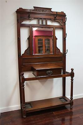 Antique Hallstand Circa 1890 Mahogany With All Original Hanging Hooks