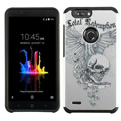 for ZTE Blade Z Max (Skull Wing)Silver Hard/TPU Armor phone case cover