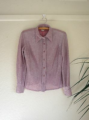 Vintage 1970's Disco Pink Purple Sparkle Glitter Shirt Size 8 Small retro
