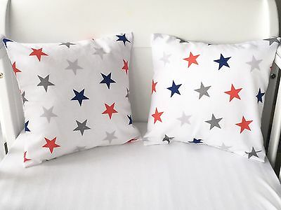 Handmade Cushion Cover White With Red Navy And Grey Stars ⭐️🌟
