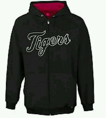 DETROIT TIGERS Girls Black Full Zip Hoodie Top MLB Baseball 6-7 Years BNWT