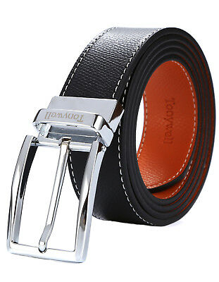 Tonywell Mens Reversible Belts with Pin buckle Genuine Leather Fashion Belt AU