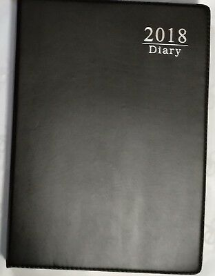2018 Diary A4 DAY To View Personal Organiser Appointment BLACK 100% Brand New