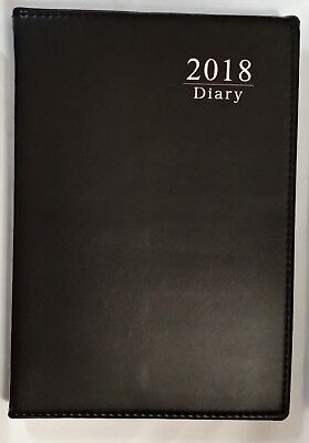2018 Diary A5 DAY To View Personal Organiser Appointment BLACK 100% Brand New