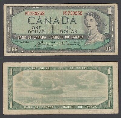 Canada 1 Dollar 1954 (1972-73) Banknote (F-VF) Condition P-75c