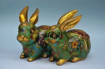 Rare China Cloisonne Enamel Gilt Wealth Money Rabbit Hare Animal Statue Pair