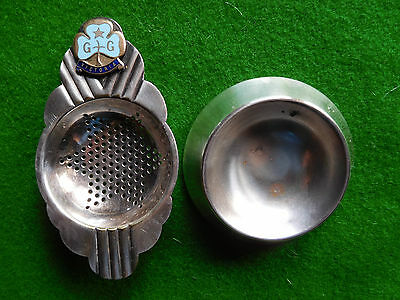 Vintage Girl Guides Victoria TEA STRAINER & STAND silver plated