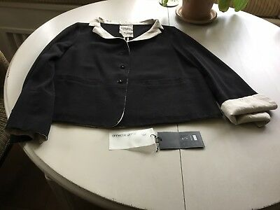 Annette Gortz black wool crepe and linen jacket and trousersuit size 14 uk