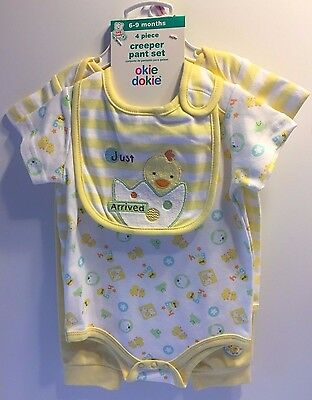 Okie Dokie Unisex Baby Boy Girl 6-9 Month 4 Piece Set Outfit New with Tags