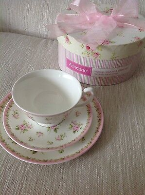Ashdene Annie Pink 3pce fine bone china teacup/saucer and plate set New Boxed