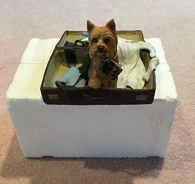 Yorkie Yorkshire Terrier In Suitcase My Dog  Figurine Statue - New