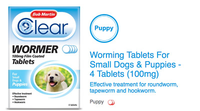 Bob Martin Clear Worming tablets 100mg roundworm tapeworm hookworm small Dog Pup