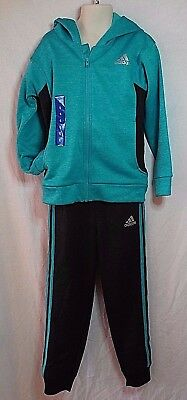 Nwt Kids Zip Up Fleece Adidas Track Suit Hooded Size 6 Teal Blue/charcoal