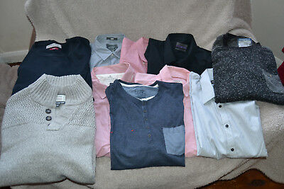 6 Shirts + 2 Jumpers + 2 Long Sleeve T Shirts-Large + XL-£4.95 No Reserve
