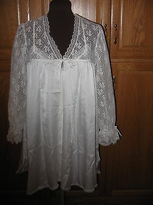 Vintage Christian Dior Miss Dior White Satin 2 Piece Negligee  Sz Small Wedding