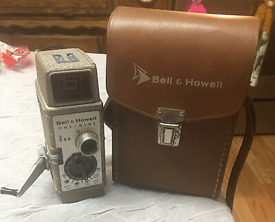 Vintage BELL & HOWELL One Nine - 8mm MOVIE CAMERA & COWHIDE CASE - Home Decor