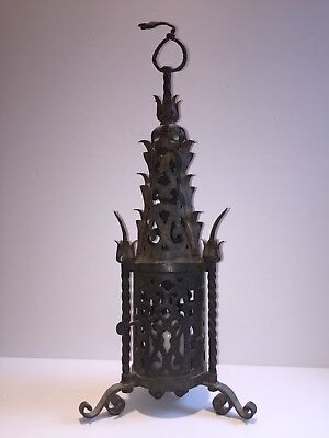 Antique Italian Tuscan Medieval Gothic Wrought Iron Hanging Torch Light Sconce