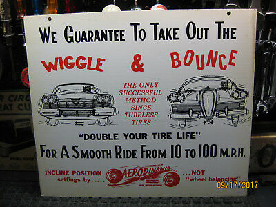 1950's Vintage 2 sided Aerodinamic Wheel Edsel Plymouth Aircraft Old Tire Sign