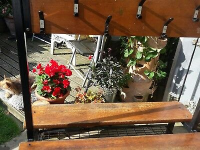 Vintage double school bench with coat and shoe rack