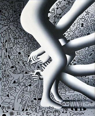 "Mark Kostabi - ""Much Too Much"" - Acrilico su tela, 76x60, 1999"