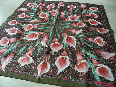 Japan Scarf Handkerchief Hanky Floral Green Brown Red Cotton Fabric Women Lady-1