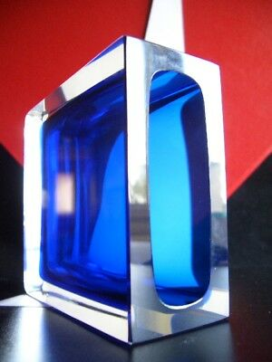 HADELAND 1965 SEVERIN BROBY Cobalt,Sapphire DOUBLE SOMMERSO PRISM VASE - Signed