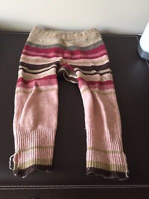 wool longies longie diaper cover soaker pants pink/brown L
