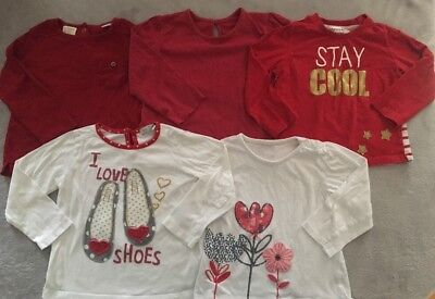 Bundle Girls Red Mix Long Sleeve Tops *5 Tops* 18-24 Months