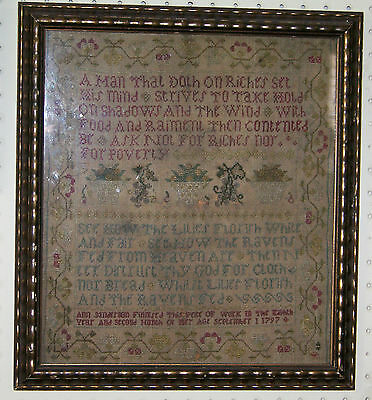 ANTIQUE 1797 AMERICAN SAMPLER by ANN SANDERSON at 8 YEARS OLD