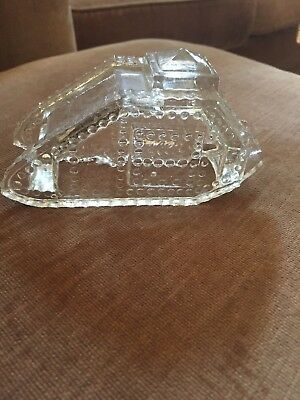Antique Wwi Army Tank Glass Candy Container