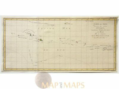 Captain Cook discoveries Old map Environs D'Otahiti 1774
