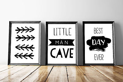 Set of 3 Little Man Cave Arrows Black & White Quote Art Prints Gallery Wall A4