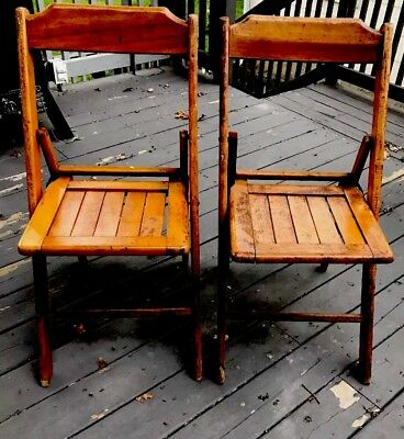 (2) Oakwood Antique Rustic Folding Chairs Perfect For Weddings & Churches USA