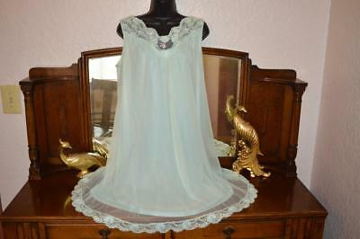VTG 60s Vanity Fair Peignoir Negligee Mint Double Layer Chiffon Lace Nightgown M
