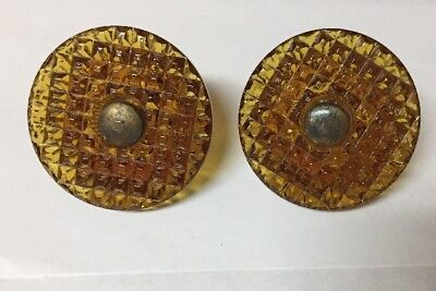 """VTG Victorian Amber Glass Curtain Tie Back Pair 2 3/8"""" wide"""