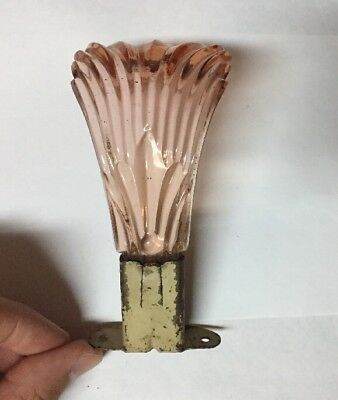 Antique Pink Glass Art Deco Feather Plume Curtain Tie Back