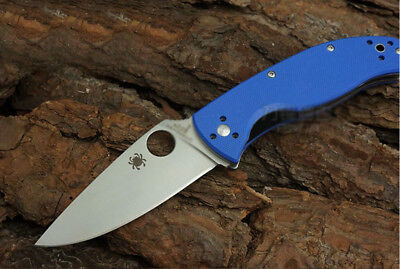 New Box C122 Blue Spyderco Pocket Knife Camping Folding Knife Self Defense A19