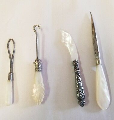 Antique Mother of Pearl sewing kit, Sterling Silver 4 Pieces
