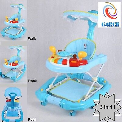 G4RCE Deluxe 3 IN 1 Racing Car Baby Walker Rocker Pusher +Musical Activity Toy!