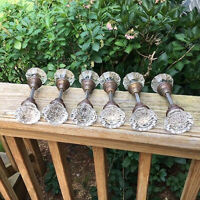 6 Sets Antique Crystal Clear 12 Point Glass & Brass Door Knobs Matched Hardware