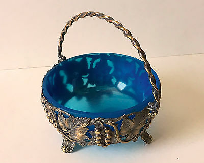 VINTAGE silver plated BONBON DISH claw feet BLUE GLASS liner VINE grapes BOWL
