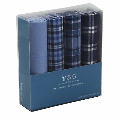 YEB0108 Blue Checkered 4 Piece In Present Box Mens Cotton Handkerchiefs By Y&G