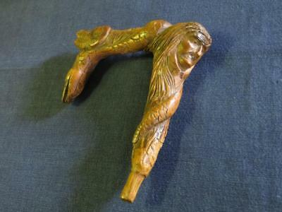 Antique French Carved Walking Cane Handle...Early to Mid 19th Century.