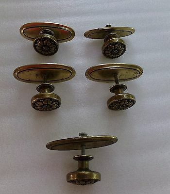 Vintage Brass Flower Floral Desk Dresser Drawer Pulls Knobs Set of 5 50s 60s C