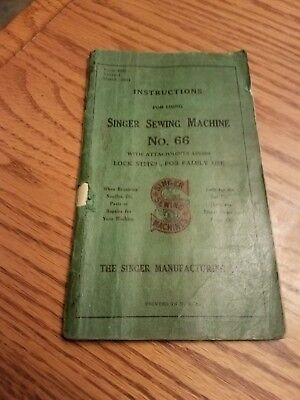 SINGER SEWING MACHINE BOOKLET No 66 Instructions Manual