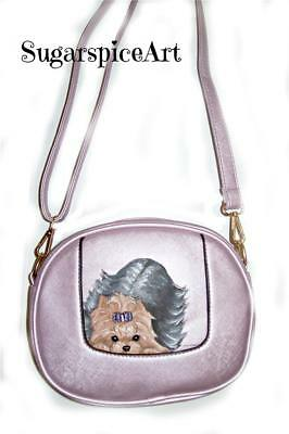 Yorkie Hand Painted Handbag Crossbody  Purse by SugarspiceArt