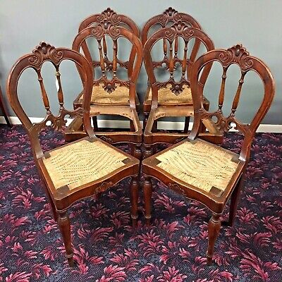 Set of 6 Continental Dinning Chairs Circa 1780's