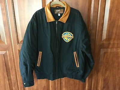 Sichel Warner Brothers Imaging Technology Black Zip Jacket with Leather Trim USA