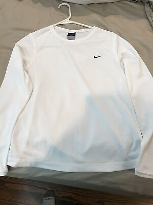 Nike Dri-Fit White Long Sleeve Crewneck Top Women's Small (4-6)